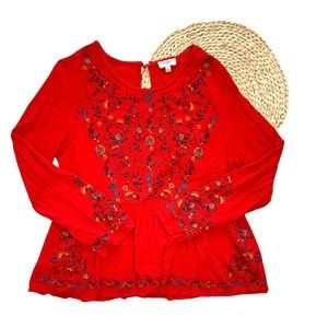 Umgee Boho Floral Embroidered Long Sleeve Blouse L
